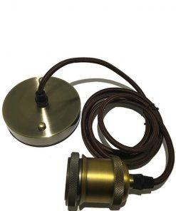 Strijkijzersnoer vintage fitting lamp Bruin Messing E27