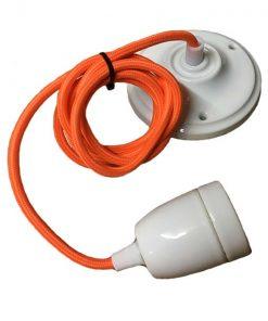 Hanglamp Porselein Oranje Wit