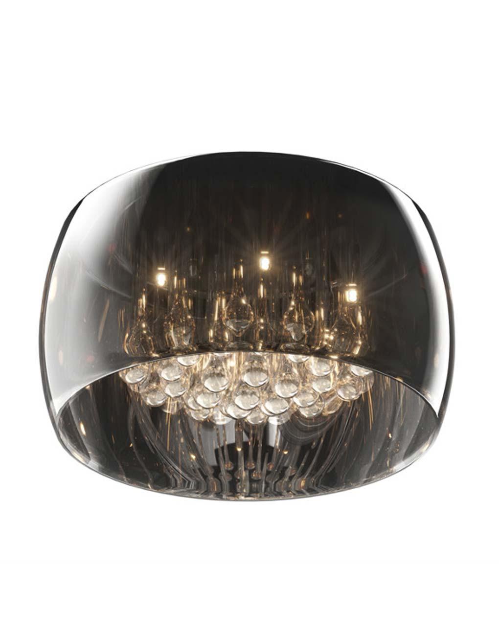 Plafondlamp gerookt glas kristal